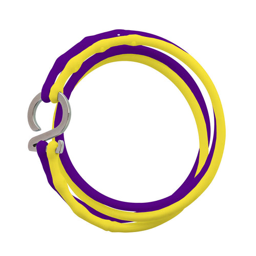 Purple-Yellow-Silver_College bracelet purple yellow silicone adjustable straps & 1 silver hook Brappz USA Canada SKU# 7640174311835 brappz.co Brappz multi-purpose silicone jewelry USA