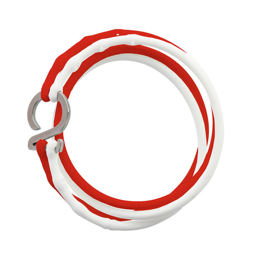 White-Red-Silver_College bracelet white red silicone adjustable straps & 1 silver hook Brappz USA Canada SKU# 7640174312016 brappz.co Brappz multi-purpose silicone jewelry USA