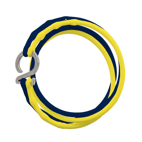 Dark Blue-Yellow-Silver_College bracelet dark blue yellow silicone adjustable straps & 1 silver hook Brappz USA Canada SKU# 7640174311613 brappz.co Brappz multi-purpose silicone jewelry USA