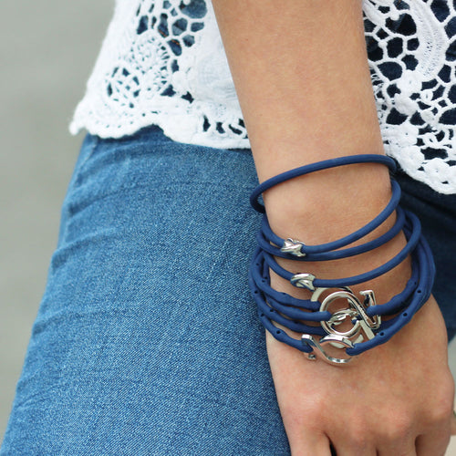 Layered Charm Bracelet Blue Set