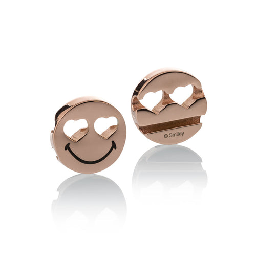 Smileyª_  Charm rose gold stainless steel heart eyes smile Brappz USA Canada SKU# 7640174311705 brappz.co Brappz multi-purpose silicone jewelry USA