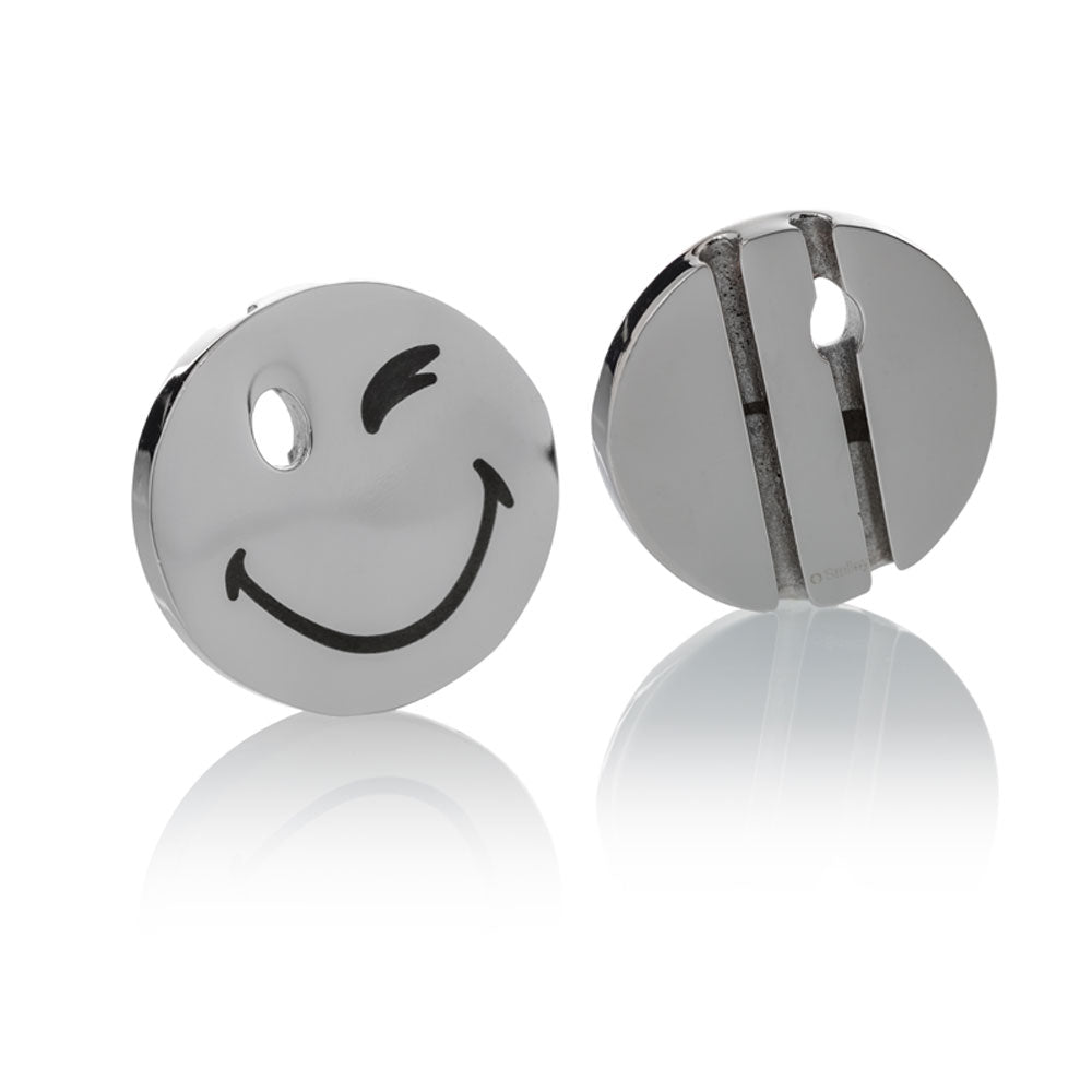 Smileyª_  Charm silver stainless steel large wink eye Brappz USA Canada SKU# 7640174312375 brappz.co Brappz multi-purpose silicone jewelry USA