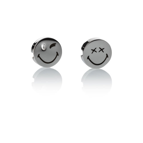 Smileyª_  Charm set silver stainless steel 1 small wink & 1 xx eyes smile charms Brappz USA Canada SKU# 7640174312368 brappz.co Brappz multi-purpose silicone jewelry USA