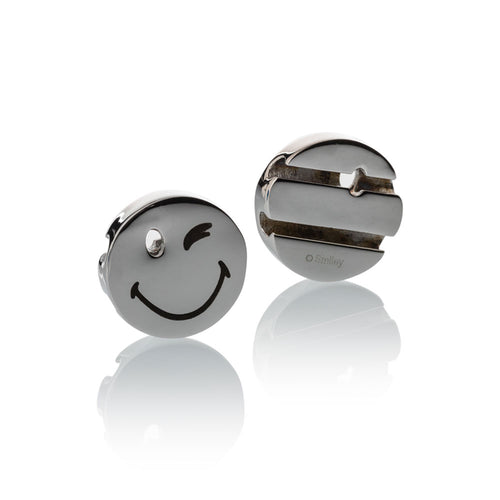 Smileyª_  Charm silver stainless steel wink eye smile Brappz USA Canada SKU# 7640174312276 brappz.co Brappz multi-purpose silicone jewelry USA