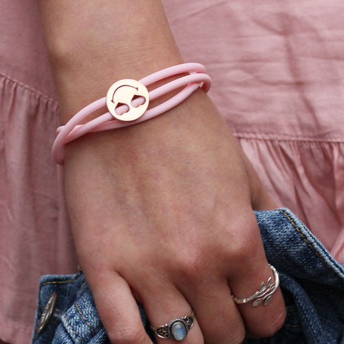 Layered Charm bracelet pink Smiley™ Heart Eyes