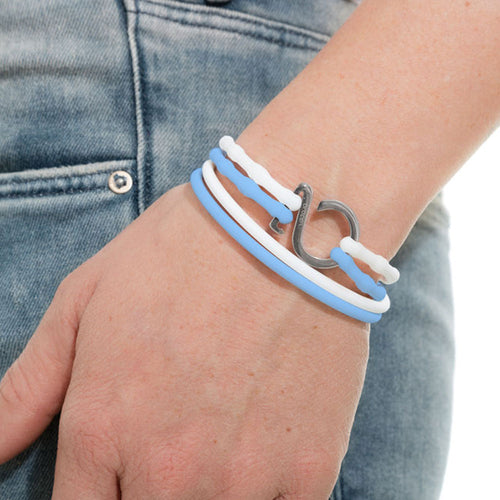 Baby Blue-White-Silver_College bracelet  baby blue white silicone adjustable straps & 1 silver hook Brappz USA Canada SKU# 7640174311804 brappz.co Brappz multi-purpose silicone jewelry USA