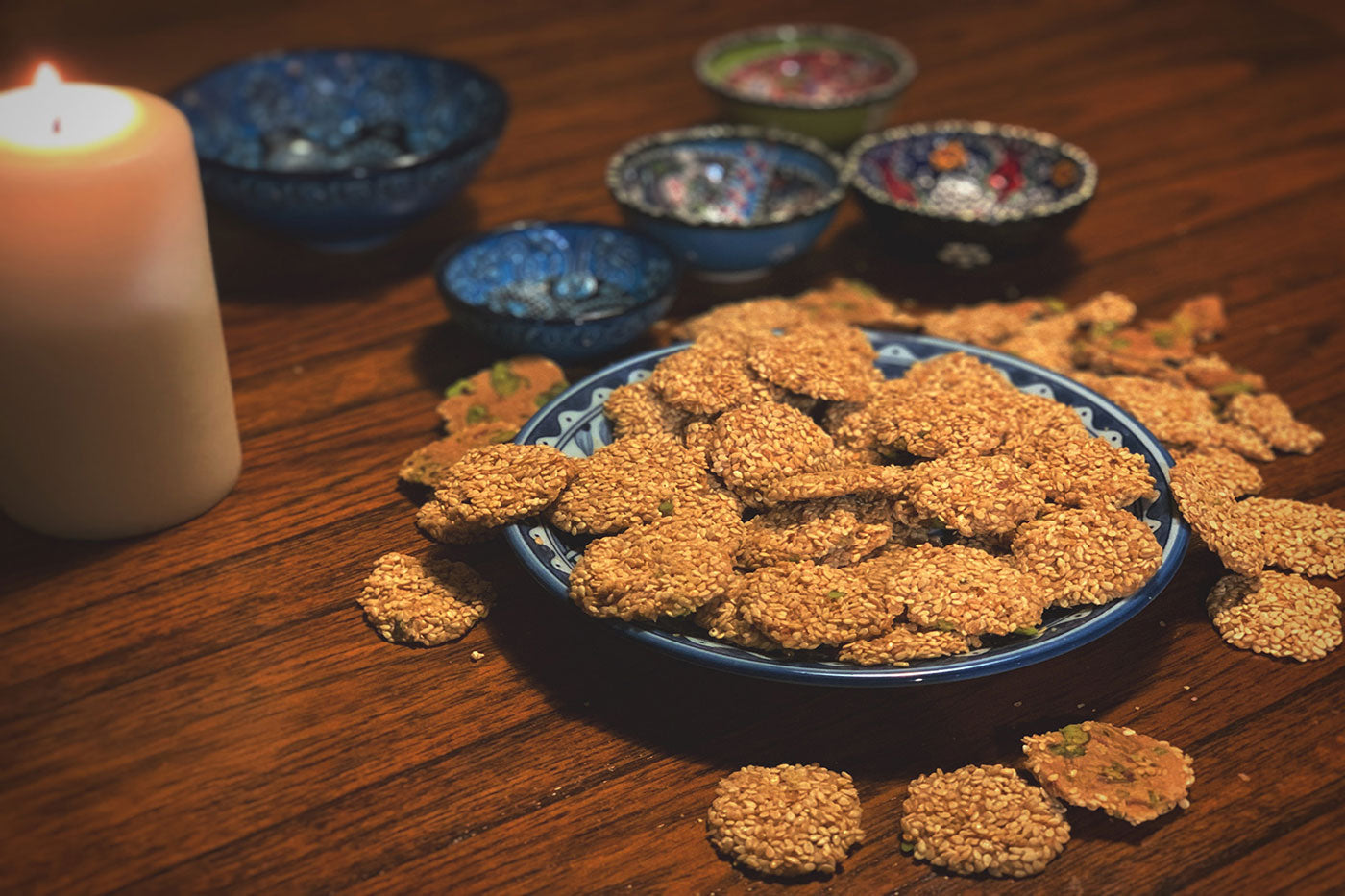 Baraze biscuits from the Middle East on a plate on a dining room table