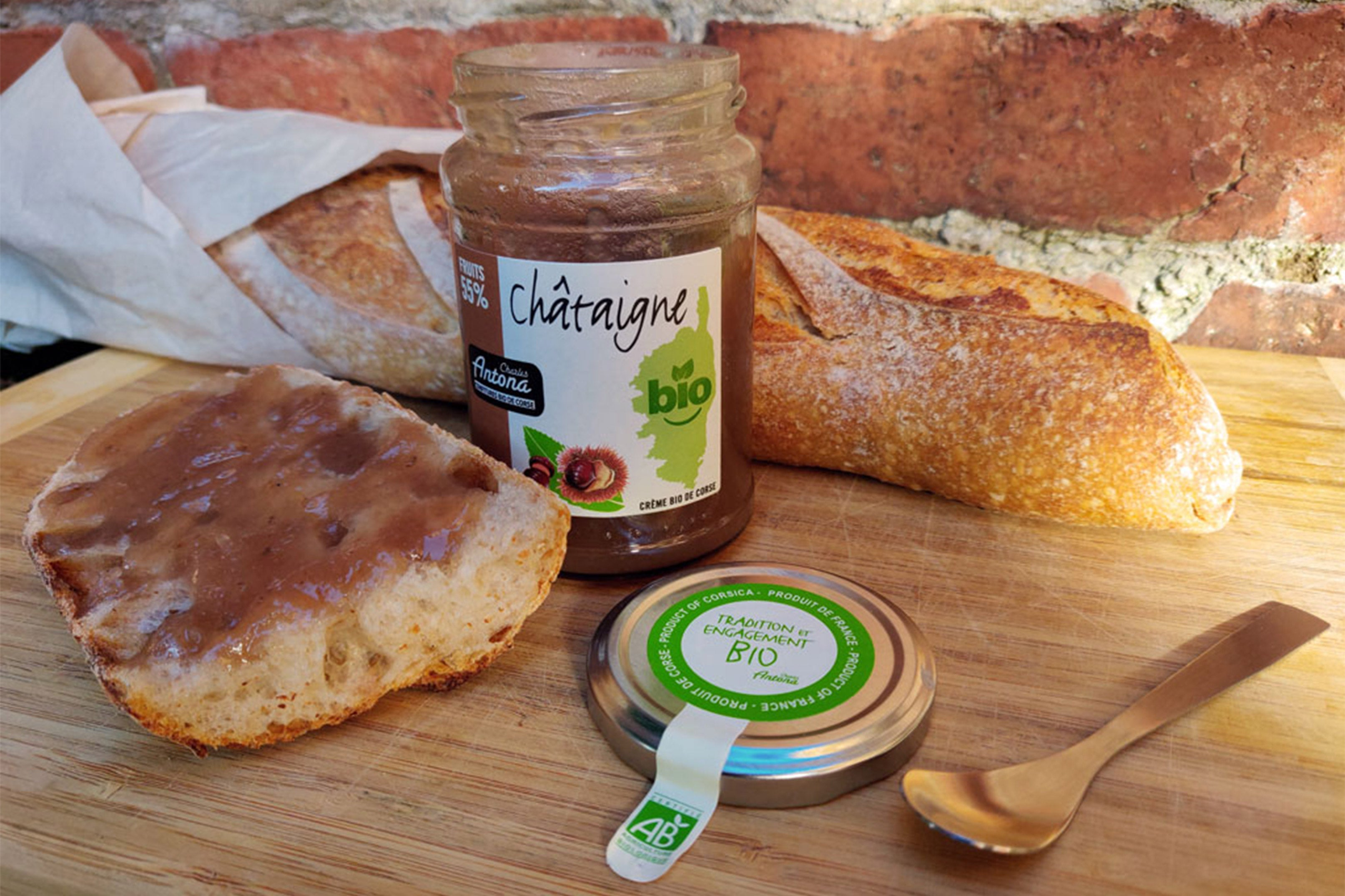 Organic Chestnut Spread Jam, made by the Corsica based Charles Antona.