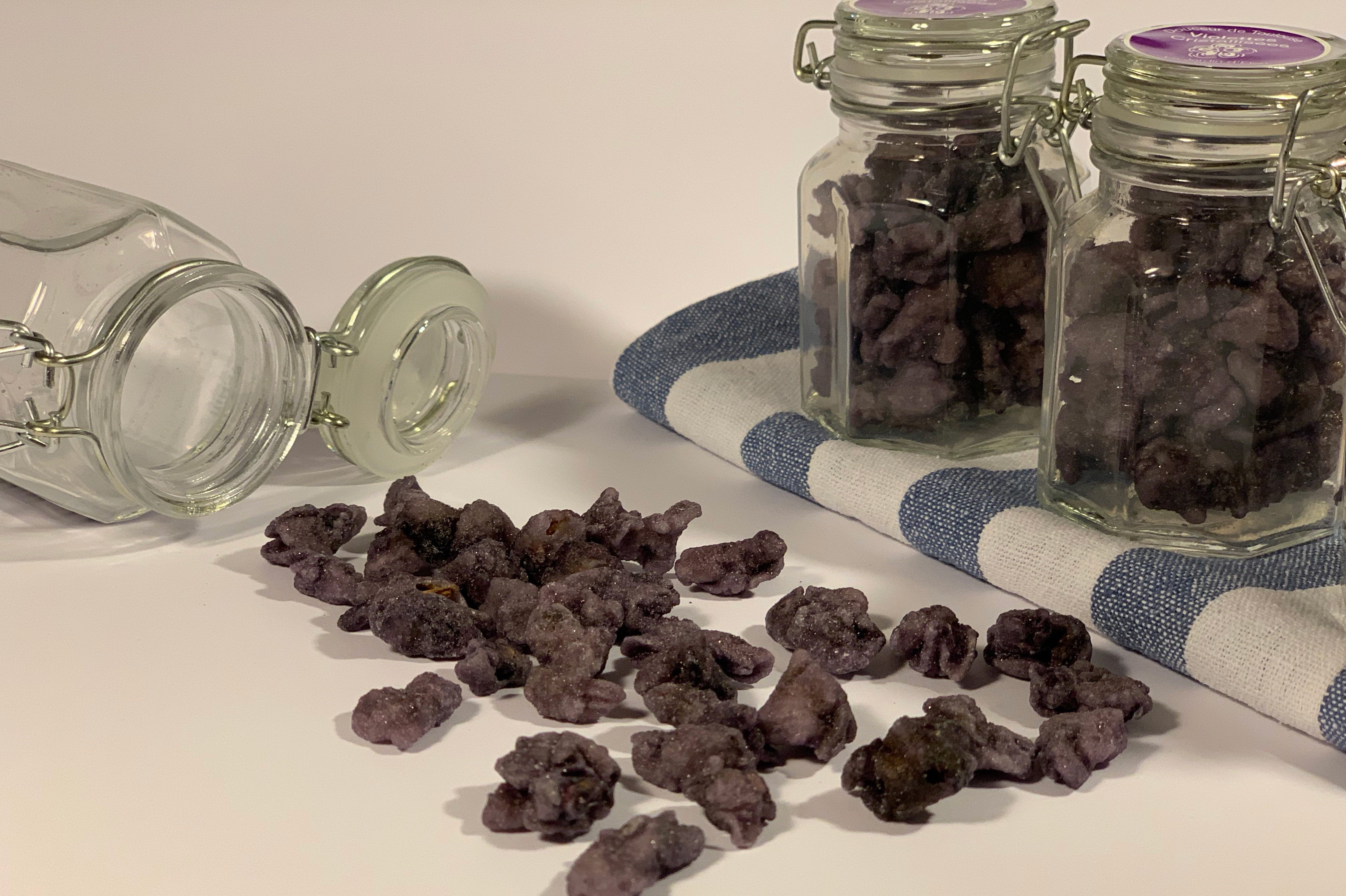 Violettes. Violet petals crystallised in sugar. They are sweets made in Toulouse, France.