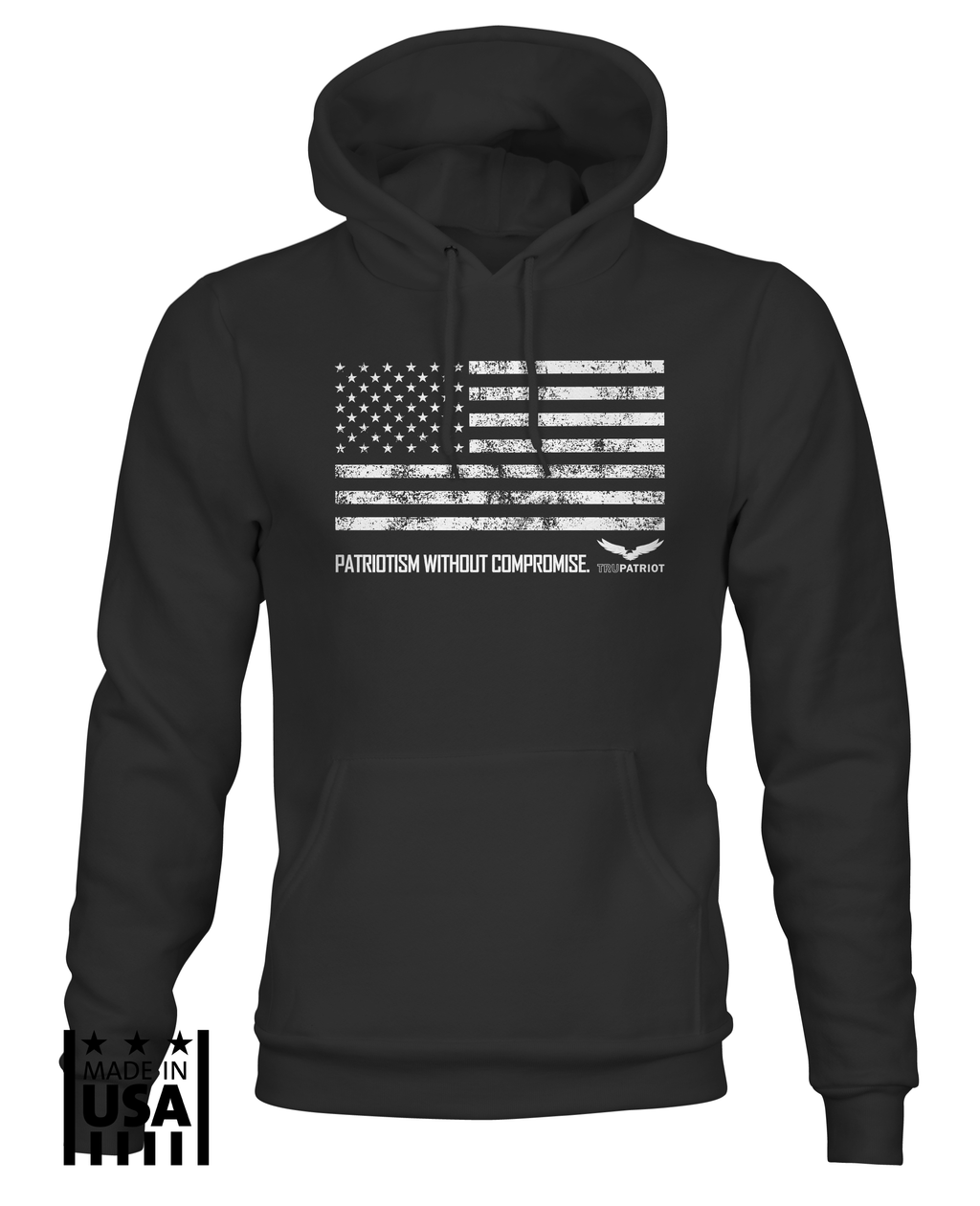 Hoodie: Patriotism Without Compromise - Black - TruPatriot