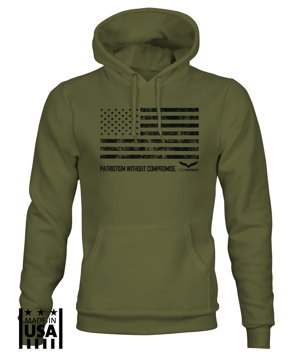 Hoodie: Patriotism Without Compromise - OD Green - TruPatriot