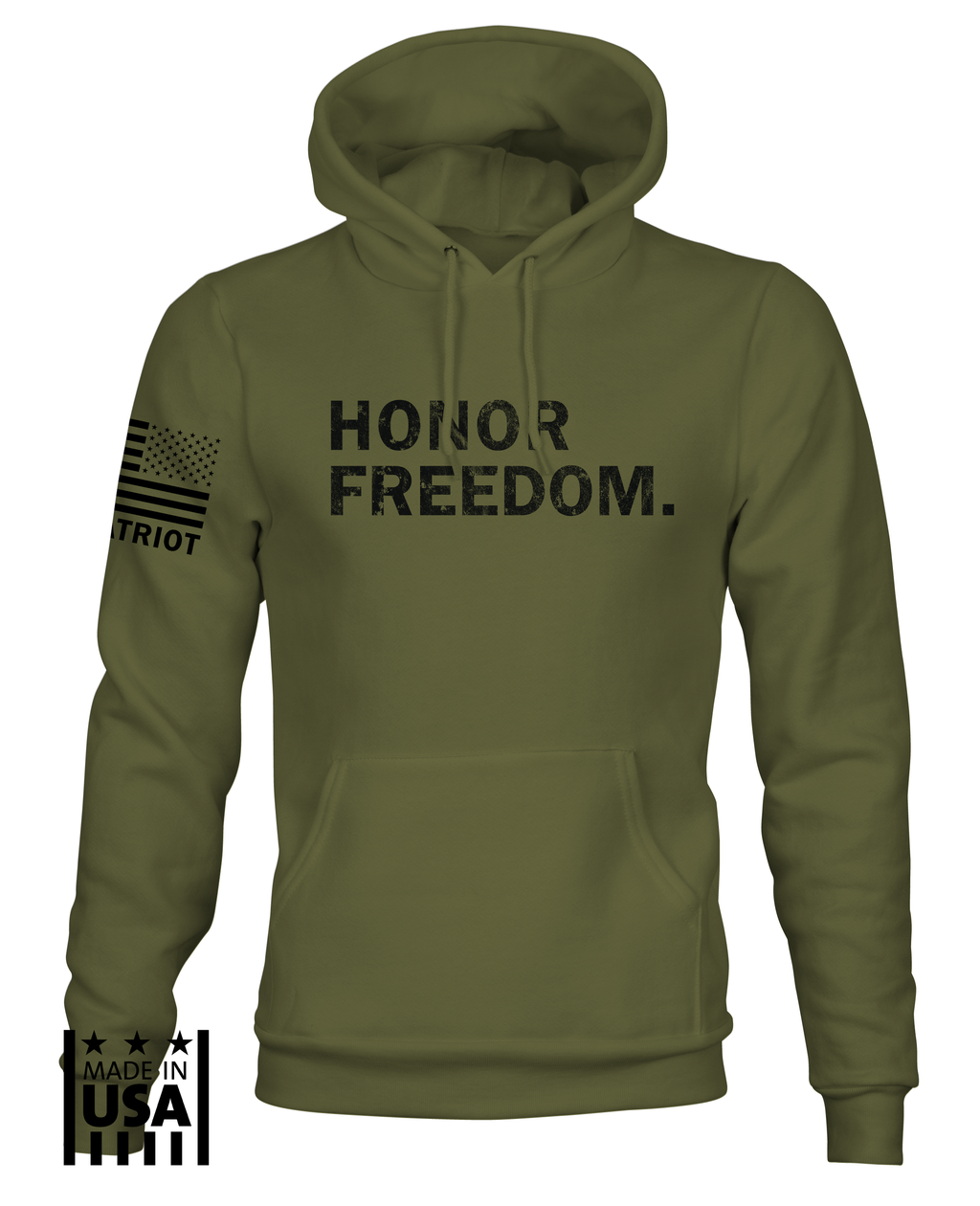Hoodie: Honor Freedom - OD Green - TruPatriot