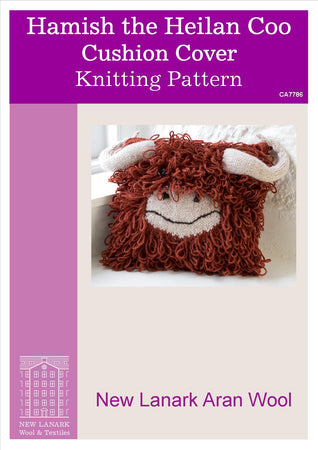 Hamish the Heilan Coo Cushion Cover Aran Pattern - New Lanark Spinning Company