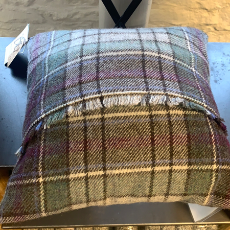 New Lanark Cushion - Heather Tartan - New Lanark Spinning Company