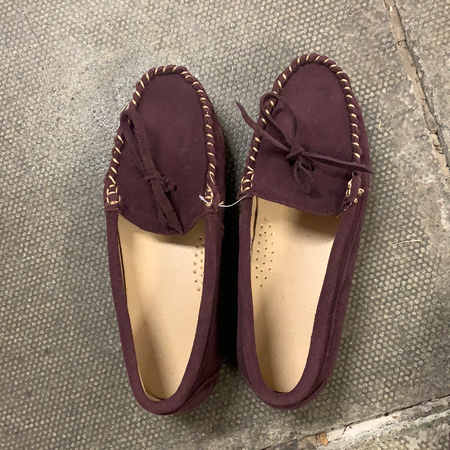 Ladies Plum Velvet Slippers - New Lanark Spinning Company