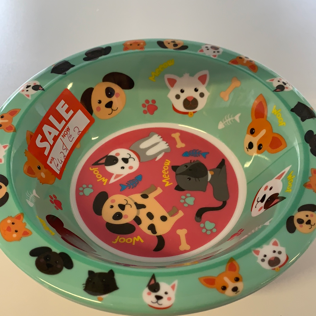 Children's Cats and Dogs Dinner Bowl