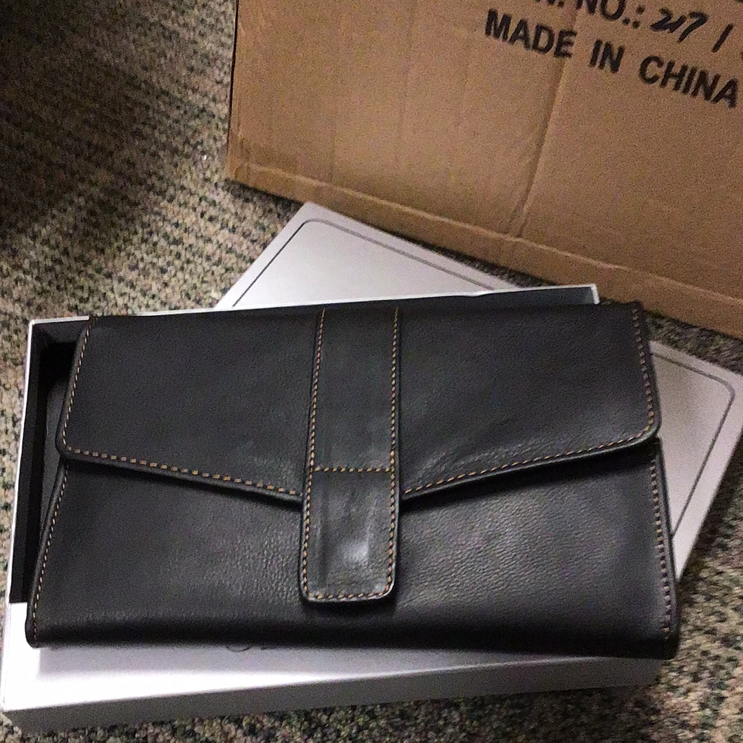 Large black leather wallet