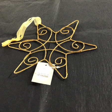 Xmas 2020 - Gold Star Swirl Tree Decoration