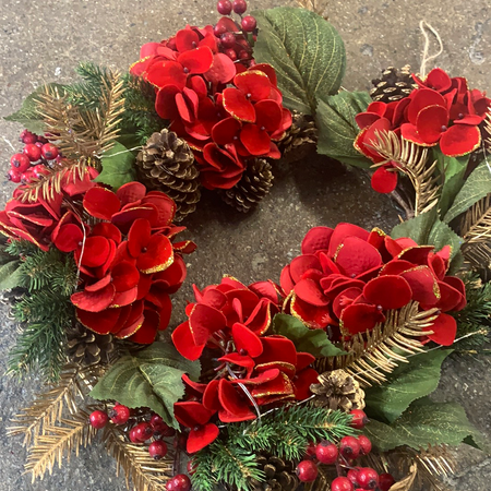 Red Christmas Blossom Wreath - New Lanark Spinning Company