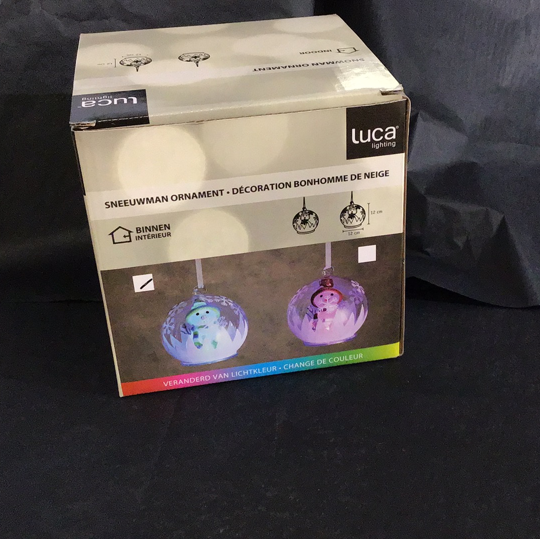 Xmas 2020 - Snowman colour changing bauble assorted colours