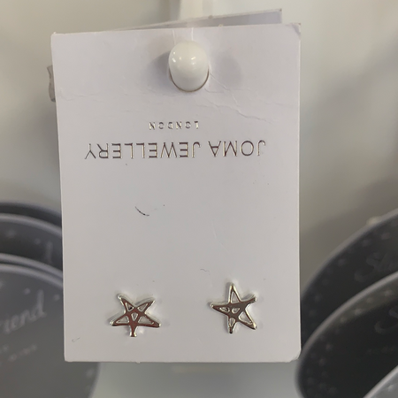 Joma - Silver Star Outline Earrings - New Lanark Spinning Company