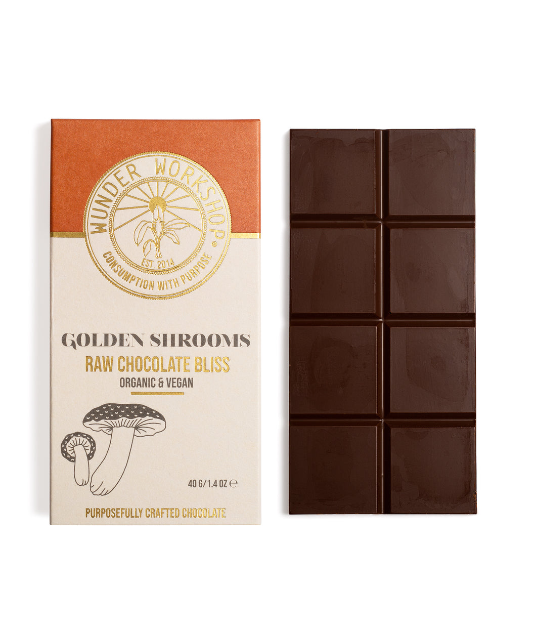 RAW CHOCOLATE BLISS BAR - GOLDEN SHROOMS