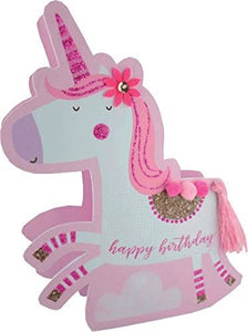Paper Dazzle Unicorn Happy Birthday 3D Birthday Greeting Card Glitter Finished PDZ021