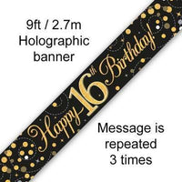 9ft Banner Sparkling Fizz 16th Birthday Black & Gold Holographic