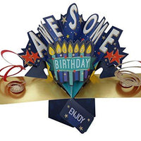 "Second Nature Birthday Pop Up Card with""Awesome Birthday"" Lettering and Candles"