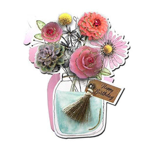 Paper Dazzle Flowers in Jar 3D Birthday Greeting Card Glitter Finished PDZ008