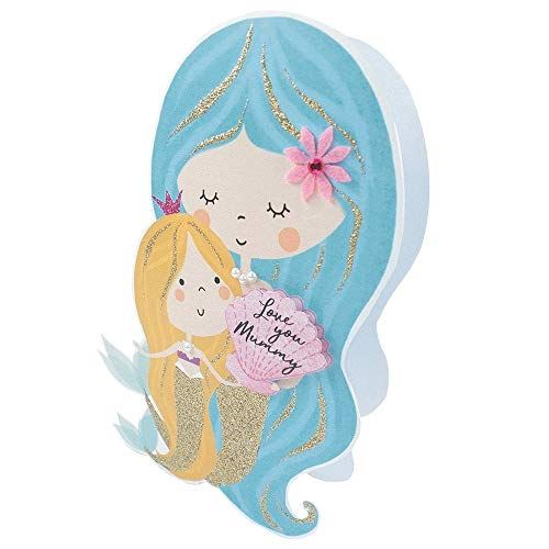 Paper Dazzle Mermaid Love Mummy Mother's Day 3D Greeting Card Glitter Finished MPDZ002