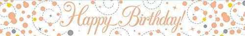 Sparkling Rose Gold Happy Birthday 9ft Banner