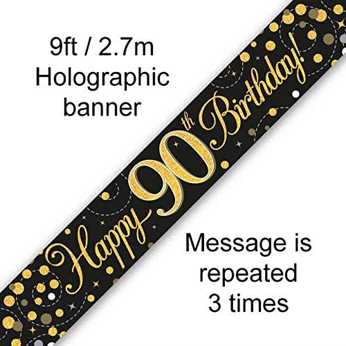 9ft Banner Sparkling Fizz 90th Birthday Black & Gold Holographic