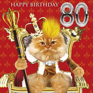 80th Birthday Card Cat on Throne - Fluff Hair