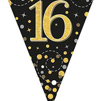 Sparkling Fizz Black & Gold 16th Birthday Flag Bunting