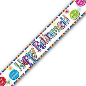 Happy Retirement Speech Bubbles Foil Banner 9ft (2.7m) long Repeats 3 Times