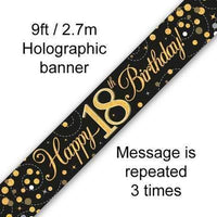 9ft Banner Sparkling Fizz 18th Birthday Black & Gold Holographic