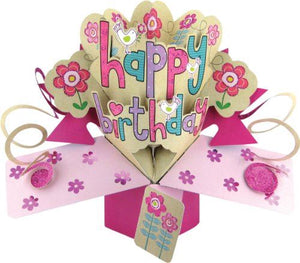 Happy Birthday Pink Flowers Pop Up Card
