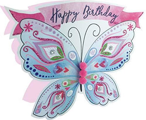 Paper Dazzle Butterflies Happy Birthday 3D Greeting Card Glitter Finished PDZ007