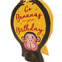 Paper Dazzle Go Bananas Monkey 3D Birthday Greeting Card Glitter Finished PDZ025