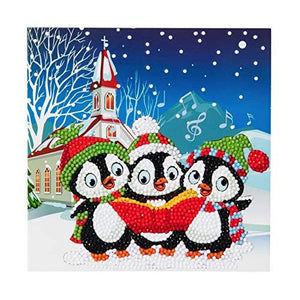 Crystal Art Penguin Christmas Carols Card