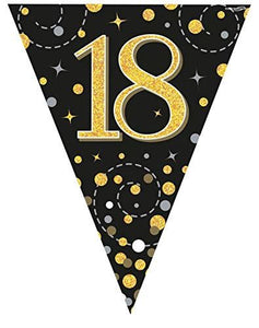 Sparkling Fizz Black & Gold 18th Birthday Flag Bunting