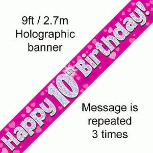 """ Happy 10th Birthday Foil Holographic Banner, Pink 9 ft"