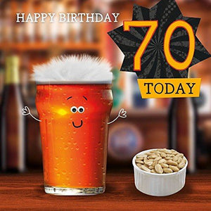 Fluff 70th Birthday Card Cheers 70 Today 3D Goggly Eyes