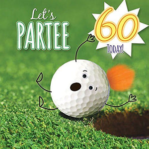 60th Birthday Card - Golf Let's Partee - Fluff & Goggly Eyes