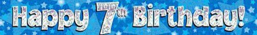 9ft Blue & Silver Stars Holographic Happy 7th Birthday Banner