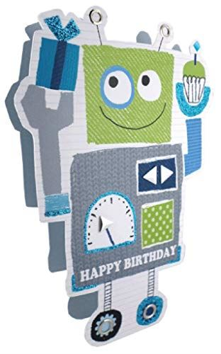 Paper Dazzle Blue Robot Happy Birthday 3D Greeting Card Glitter Finished PDZ027
