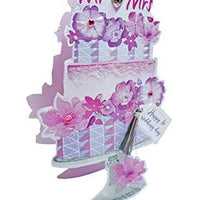 Paper Dazzle Wedding Day Mr & Mrs Cake 3D Greeting Card Glitter Finished PDZ044