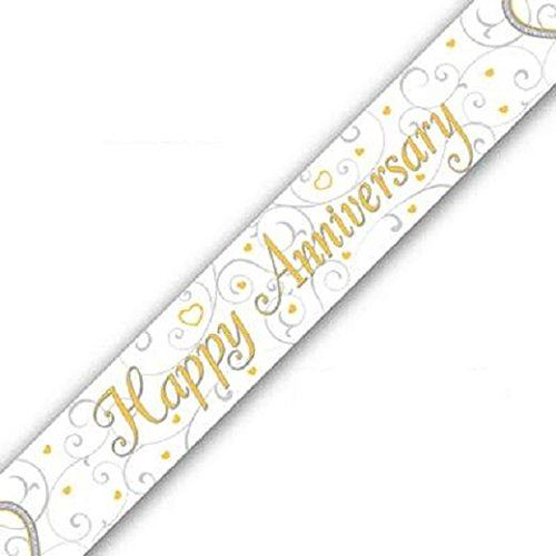 Happy Anniversary Linked Hearts Design Foil Banner 9ft (2.7m) long Repeats 3 Times
