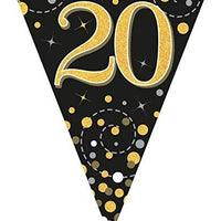 Sparkling Fizz Black & Gold 20th Birthday Flag Bunting